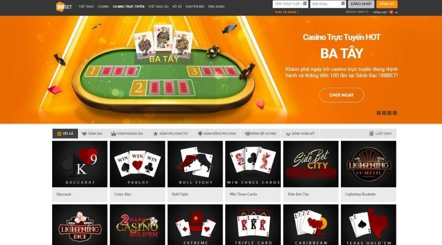 Live casino trực tuyến nhà cái 188Bet