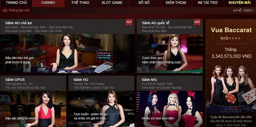 Hệ thống Live casino trực tuyến tại nhà cái K8