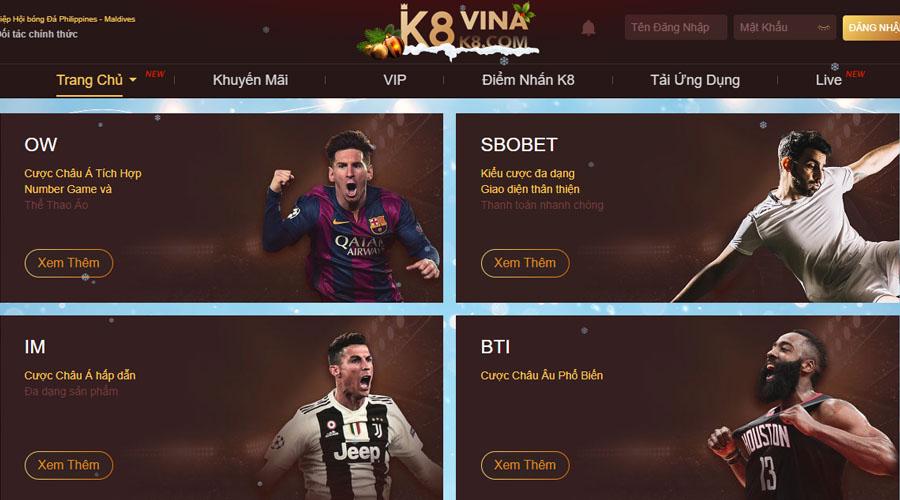 Các cược bóng đá trực tuyến K8